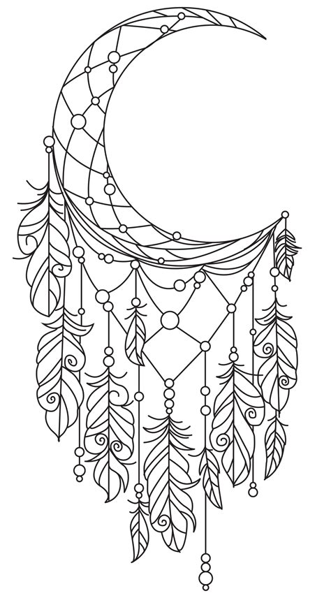 coloring pages moon dreamcatcher pin by patricia benson burns on great items pinterest