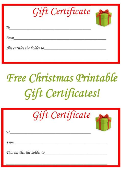 printable christmas certificates 22 best gift certificate printables images on pinterest
