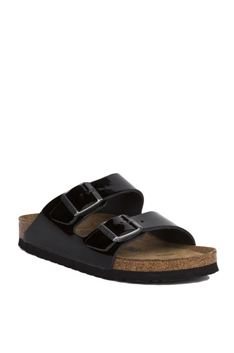 birkenstock patent sandals lyst birkenstock arizona soft footbed black patent