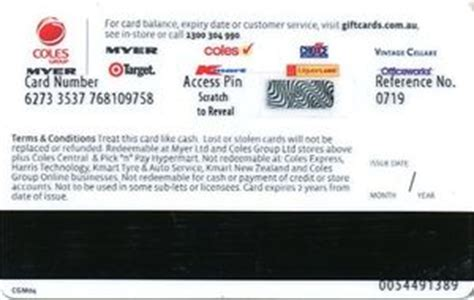 Myer Gift Card Coles - gift card coles group myer coles cgm australia single design col cgm004