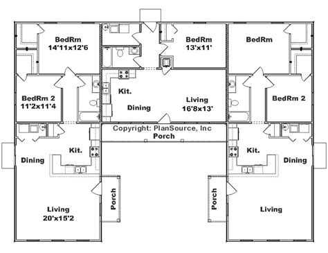 House Plans 2 Master Suites Single Story triplex j0908 t plansource inc