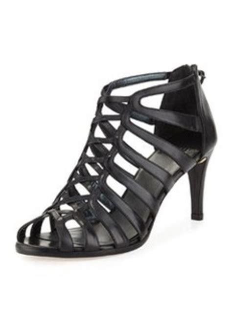 stuart weitzman exes strappy leather mid heel sandal