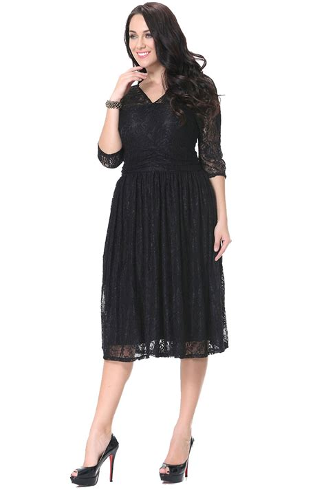 Sleeve Lace Sheer Dress unomatch sheer lace sleeves v neck skater plus size
