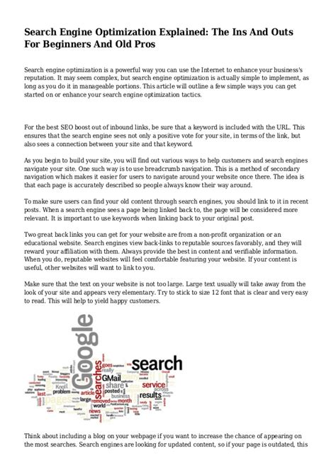 Search Engine Optimization Articles 1 by Search Engine Optimization Explained The Ins And Outs For