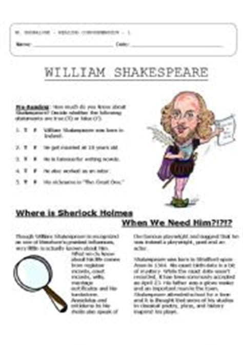 shakespeare biography exercises 4 pg reading comprehension shakespeare