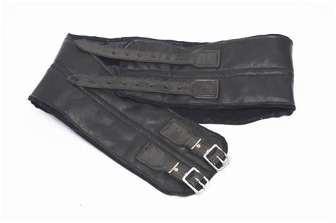 24helmets vintage kidney belt real leather black w steel