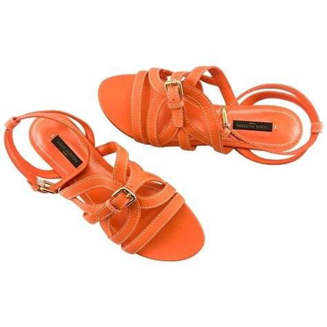 Sale Louis Vuiton Wedges Shoes 811 louis vuitton orange leather flat sandals for sale at 1stdibs