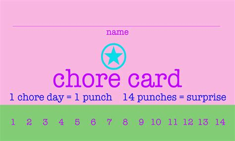 Free Printable Chore Punch Cards Free Printable Punch Card Template