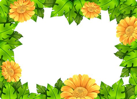yellow flower frame template   vectors