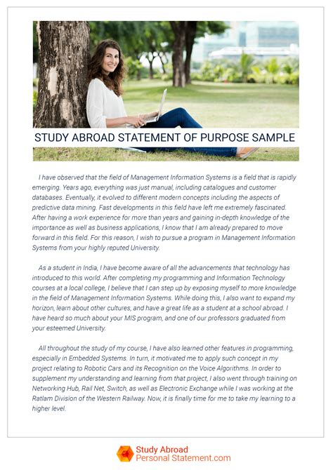 Letter Of Intent Sle Study Abroad Study Abroad Statement Of Purpose Is A Key To Success Study Abroad Personal Statement