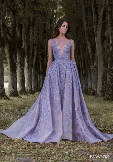 psaw hand appliqued lavender embroidered tulle