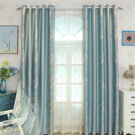 floral bedroom curtains blue jacquard floral elegant polyester insulated bedroom