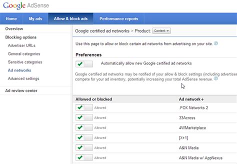 adsense network how to control what type of ads are displayed through