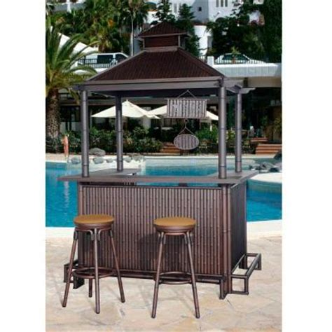 sunjoy oasis 3 patio tiki bar set l dn202sal a the