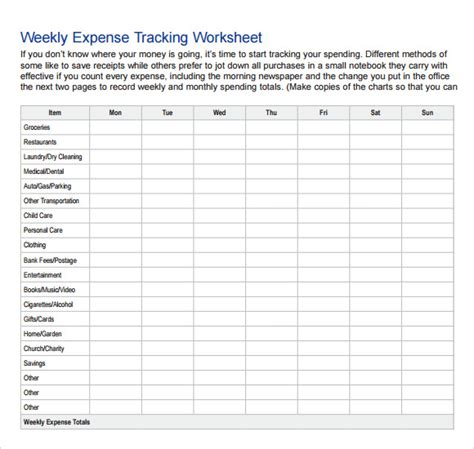expense tracking template 7 download free documents in