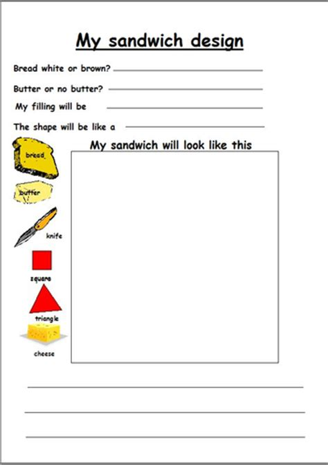 design a healthy menu ks1 design and make a sandwich by lbrowne teaching resources