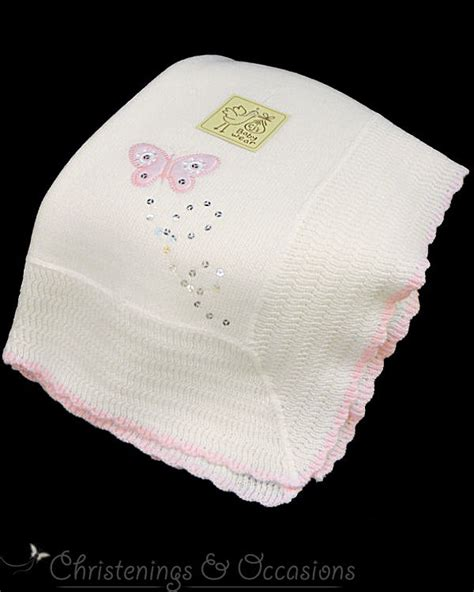 Pashmina Motif Yellow Butterfly baby white and pink christening new baby shawl with butterfly motif