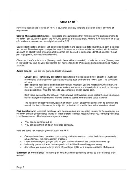 rfp presentation template rfp template