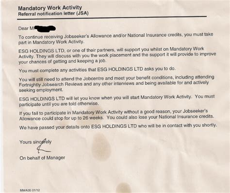 Proof Of Ni Letter Dwp Still Breaking Their Own On Mandatory Work Activity A Latent Existence