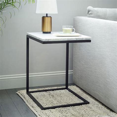 white top side table black and white box frame c base side table