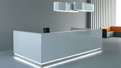 Clear Lines Light Design And The Shiny White Of Linea Reception Desk Glass