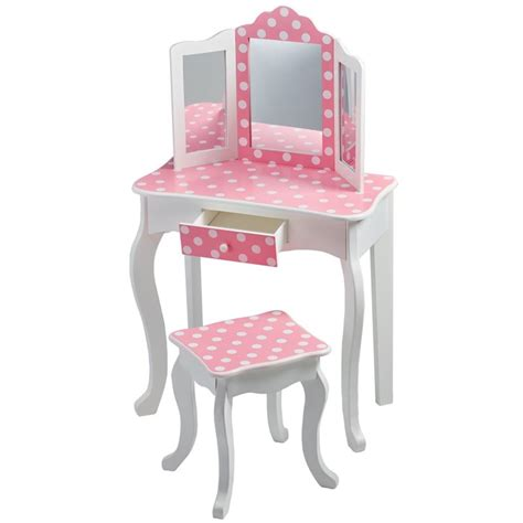 Youth Vanity Table Teamson Fashion Prints Polka Dot Vanity Table And Stool Set Td 11670f