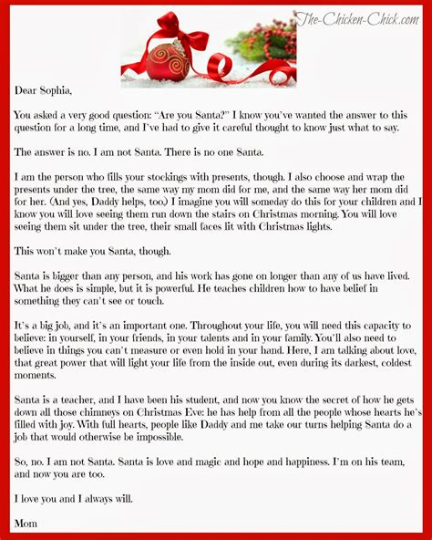 Parent Letter To Child About Santa The Chicken 174 Quot How Can Santa Be Real Quot The About Santa