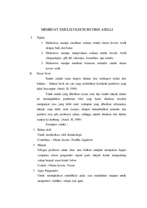 laporan praktikum membuat minyak kelapa laporan resmi emulsi iecoris aselli