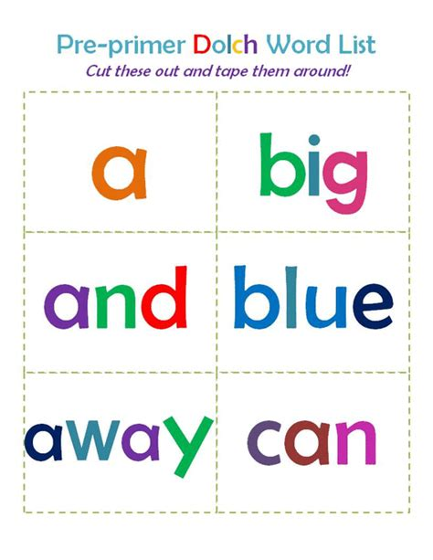 printable flash cards for first grade sight word flash cards dolch entire set alphabetical