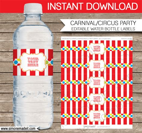 printable carnival party decorations carnival party water bottle labels circus party