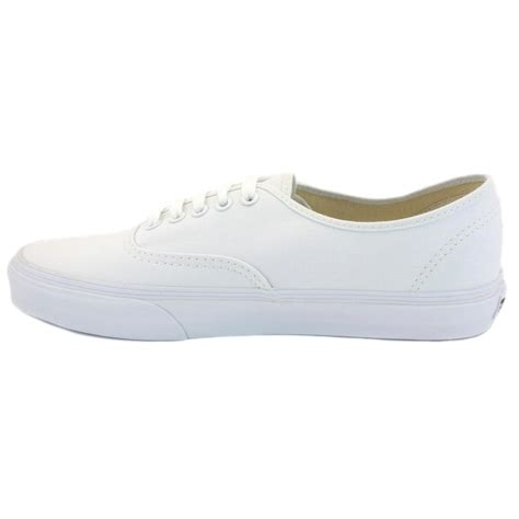vans authentic white white unisex trainers shoes ebay - White Shoes