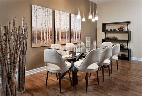 dining room wall decor with painting and wall shelves