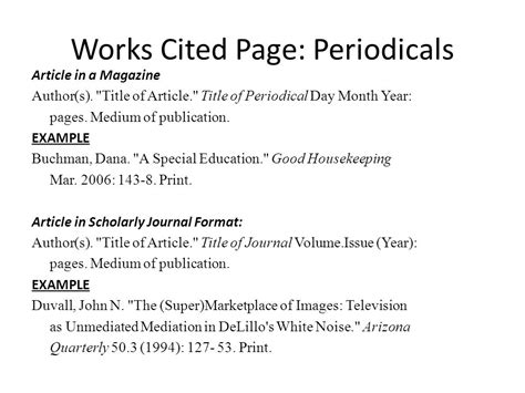 sle of works cited page mla works cited in text citations ppt