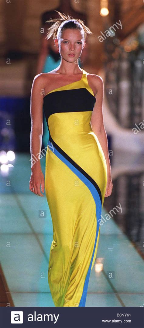 Who Wore Versace Best The Catwalk Model Or Schiffer by Kate Moss Models Versace At Fashion Show On Catwalk