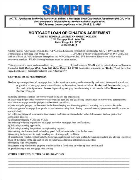 business broker agreement template mortgage agreement template