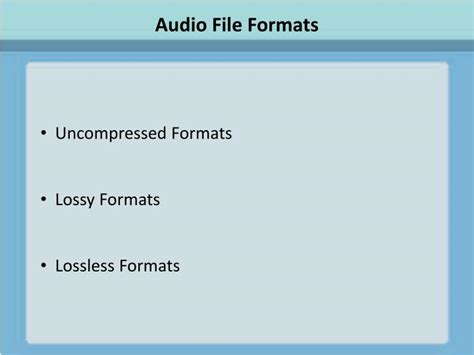 audiobook file format ppt audio file formats powerpoint presentation id 3974051