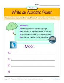 write an acrostic poem poetry worksheets