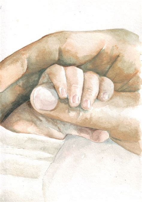 love family smaller on a finger water color mark behind original watercolor painting baby hand holding father s