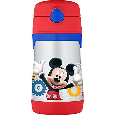 Termos Stainless Mickey by Thermos Vacuum Insulated Stainless Steel 10 Ounce Straw