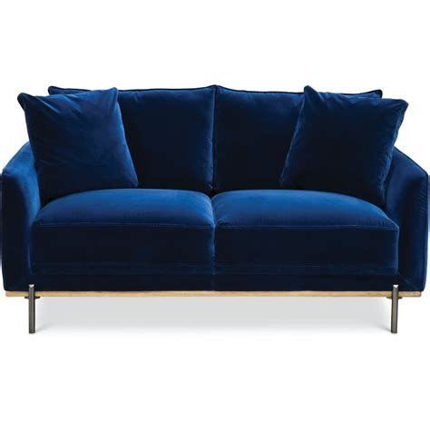 modern royal blue velvet loveseat marseille rc willey