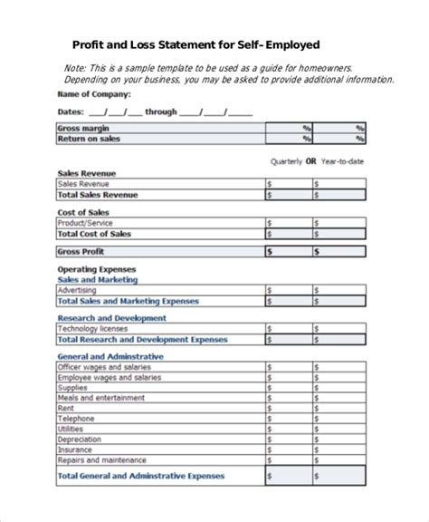 self employed profit and loss statement template sle profit and loss form 9 free documents in pdf