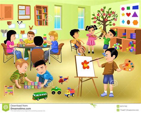 sectionalism for kids kids doing different activities in kindergarten stock