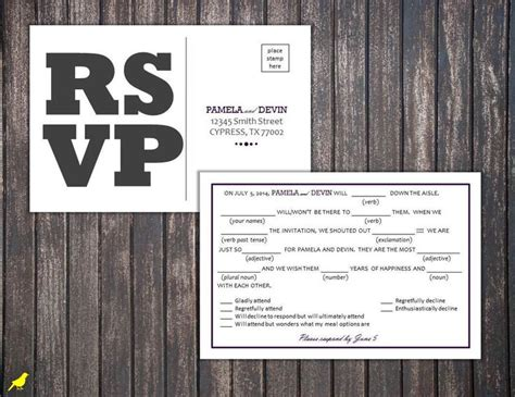 Mad Libs Rsvp Card Template by Postcard Mad Lib Rsvp 4x6 Postcard Rsvp Mad Lib Rsvp By