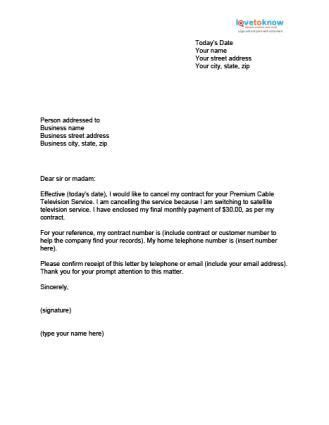 sample letter cancellation business contract