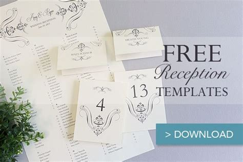 Seating Place Cards Template by Free Printable Wedding Reception Templates Free