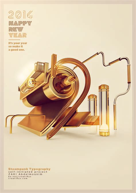 typography cinema 4d 2014 steunk poster on behance