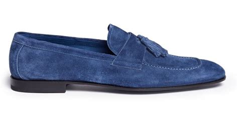 blue suede tassel loafer lyst giorgio armani suede tassel loafers in blue for