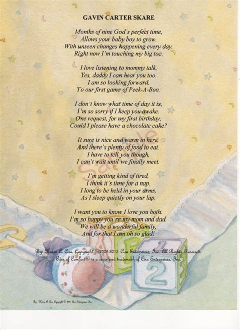 Baby Quilt Poem by Six Stanza Version I Personalized Baby Poem