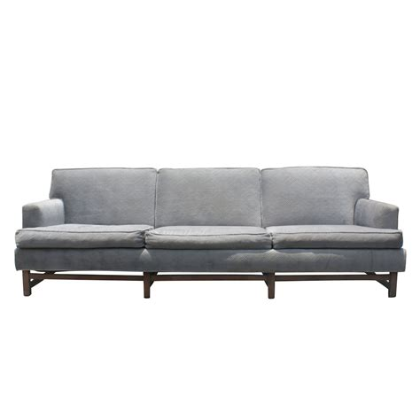 Mid Century Modern Sofa Mid Century Modern Bluish Gray Sofa Wood Base Price Reduced Ebay