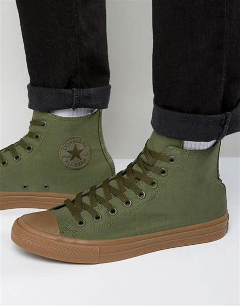 Converse Chuck Hi Top Gume Sole converse converse chuck all ii hi plimsolls with gum sole in green 155498c